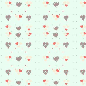 Polka Hearts on Mint