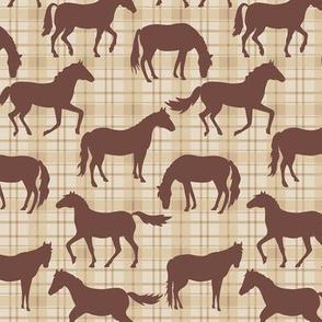 Horses Plaid Brown Tan Medium