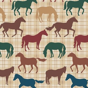 Horses Plaid Multicolor Med