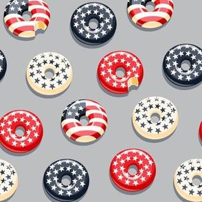 Stars and Stripes - Flag Donuts - Dark blue on grey LAD19
