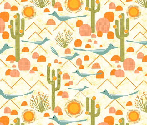 Southwest Roadrunners and Ocotillo fabric by vo_aka_virginiao on Spoonflower - custom fabric