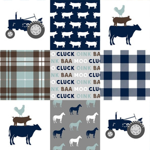 farm life - plaid wholecloth patchwork - navy brown and dusty blue C19BS