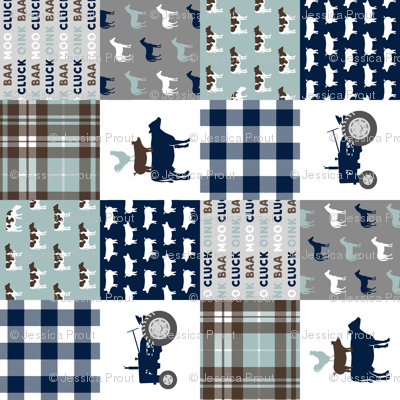 farm life - plaid wholecloth patchwork - navy brown and dusty blue (90) C19BS