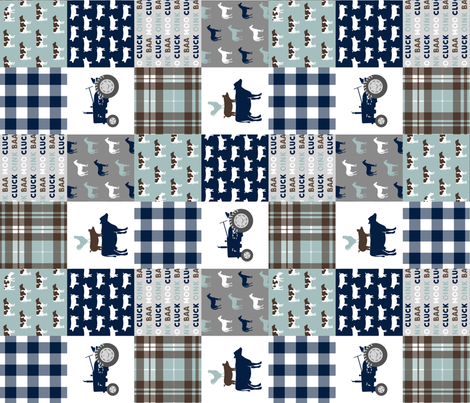 farm life - plaid wholecloth patchwork - navy brown and dusty blue (90) C19BS fabric by littlearrowdesign on Spoonflower - custom fabric