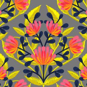 Flouro Flowero Grey Brocade