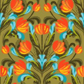 Flouro Flowero Khaki Brocade