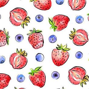 Strawberries en blueberries