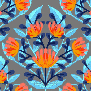 Flouro Flowero Blue Brocade
