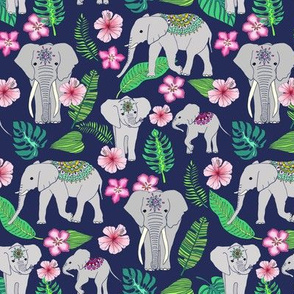 Elephants of the Jungle on light indigo