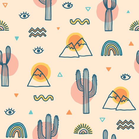 Desert sunset fabric by kondratya on Spoonflower - custom fabric