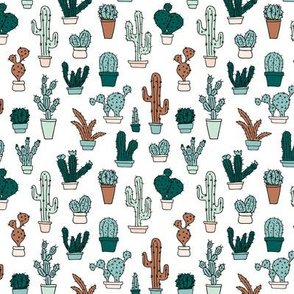 Cactus cacti garden botanical succulent green garden pattern illustration print green min boys