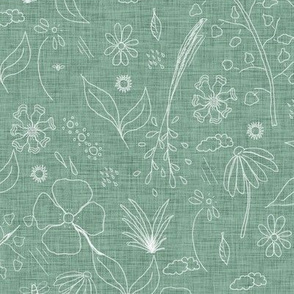 Skeleton Florals Garden green