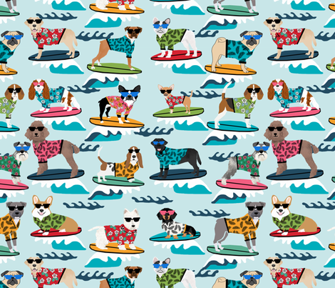 LARGE - surfing dogs summer beach fun dogs fabric by petfriendly on Spoonflower - custom fabric