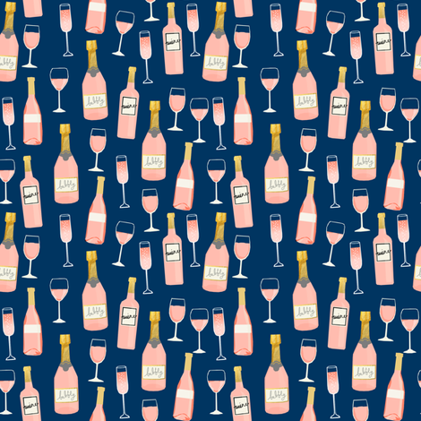 SMALL - rosé all day wine fabric brunch navy fabric by charlottewinter on Spoonflower - custom fabric