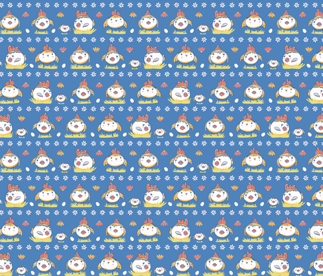 Cute cartoon vector Easter chicken with daisy flowers fabric by limolida on Spoonflower - custom fabric