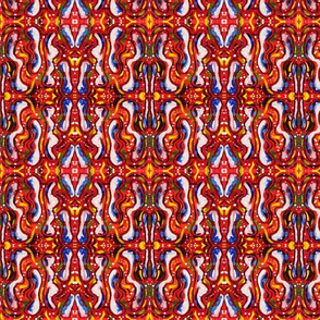 Abstract Over the Top Bold Red Blue and White Pattern