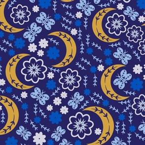 Moon Flower Pattern Blue