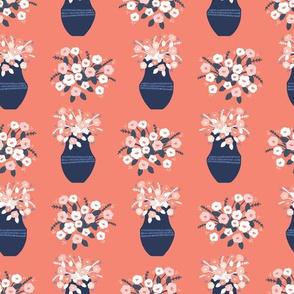Hand drawn coral blue spring flower vase