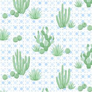 Modern Desert Cactus blue