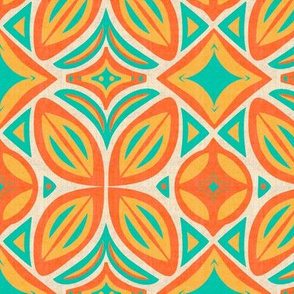 Abstract Bohemian Butterfly in Turquoise and Orange