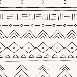 Minimal mudcloth bohemian ethnic abstract indian summer aztec design off white black