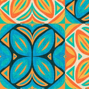 Abstract Bohemian Butterfly Counterchanged Checkerboard in Blue Turquoise and Orange