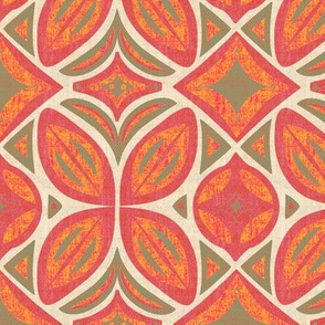 Abstract Bohemian Butterfly in Orange Pink and Olive