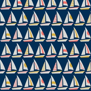 Little Sailboats and Triangles on Midnight Blue