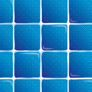 Large Blue Tropic Tiles