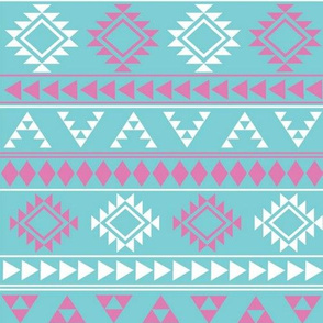 Pink and Blue Aztec