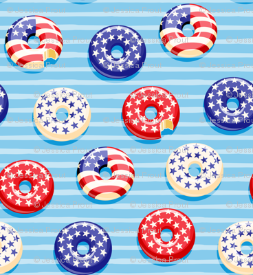 "(3/4"" scale) Stars and Stripes - Flag Donuts - Blue Stripes LAD19BS"