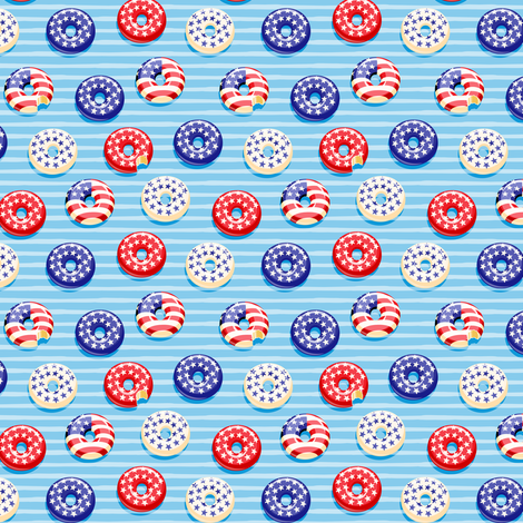 "(3/4"" scale) Stars and Stripes - Flag Donuts - Blue Stripes LAD19BS fabric by littlearrowdesign on Spoonflower - custom fabric"