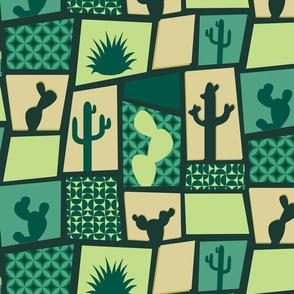 Modern Mid Century Cactus Breeze Blocks in Jade