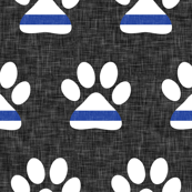 (small scale) K-9 unit Thin blue line - police dog paw on grey linen - LAD19BS
