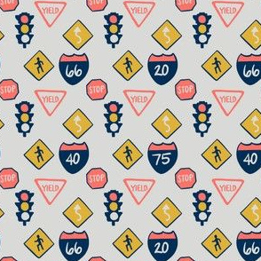road signs in grey