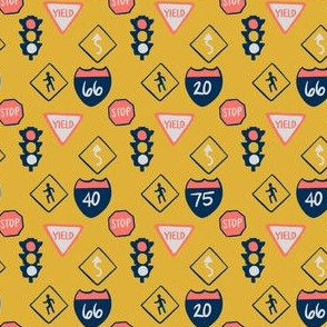 road signs in yellow