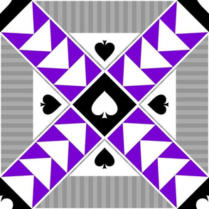 """12"""" Wild Goose Chase Quilt Block Asexual Pride"""
