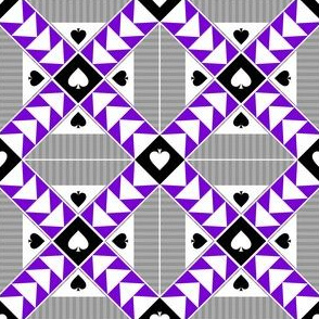 """3"""" Wild Goose Chase Quilt Block Asexual Pride"""