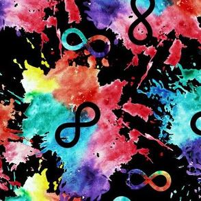 Neurodiversity - autism awareness watercolor splatter on black LAD19