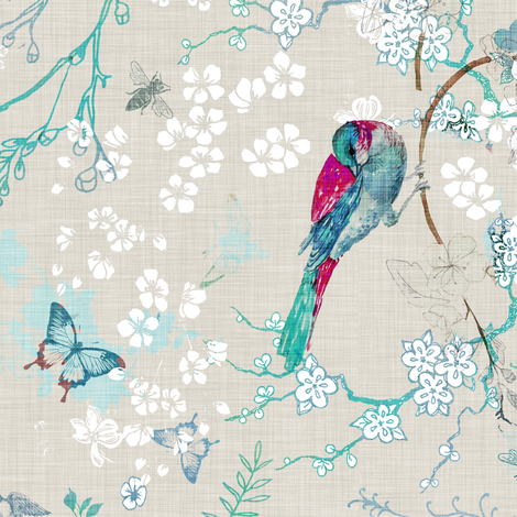 Birds + the Bees (aqua) MED rotated fabric by nouveau_bohemian on Spoonflower - custom fabric