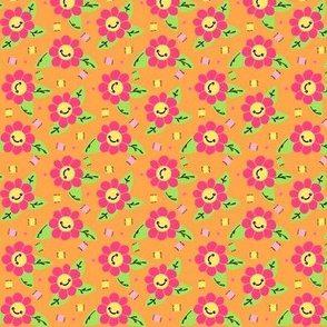 Flower Patch  - Hot Pink & Orange  Small