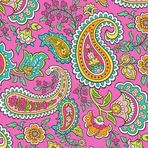 Bohemian Paisley on Dark Pink
