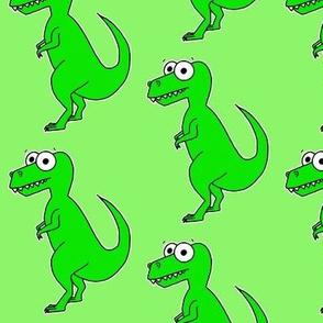 Cute T Rex - on green