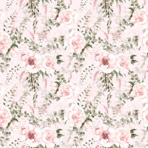 small Lush greenery and florals - double on pink