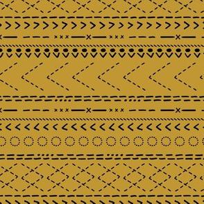 Minimal mudcloth bohemian mayan abstract indian summer aztec design mustard ochre yellow