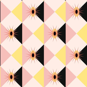 Atomic Sunburst Blocks Pink Yellow
