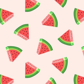 (med scale) watermelons (red on pale pink)- summer fruit fabric - LAD19BS