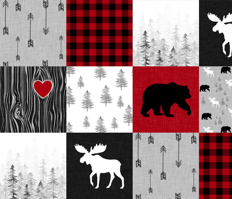 May the forest//No Writing - Wholecloth Cheater Quilt fabric by longdogcustomdesigns on Spoonflower - custom fabric