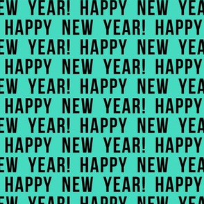 Happy New Year - black on teal  C19BS