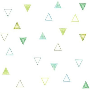 Emerald Watercolor Geometric Triangles